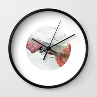 skiing Wall Clocks featuring Vintage Skiing by Pati Designs
