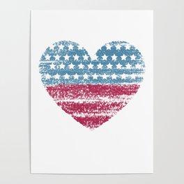 USA Love Heart Flag Poster