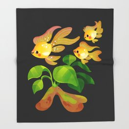 Fresh water fish and plants 2 Throw Blanket