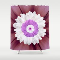 psychedelic art Shower Curtains featuring Psychedelic Floral Art by Colorful Art