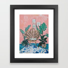 Wicker Shell Chair in Tropical Interior Framed Art Print