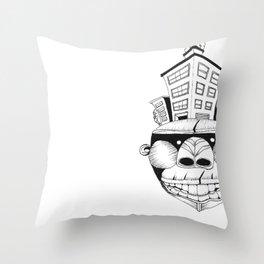 Homo Erectus in Modern World Throw Pillow