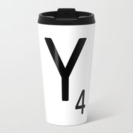 Letter Y - Custom Scrabble Letter Tile Art - Scrabble Y Initial Travel Mug