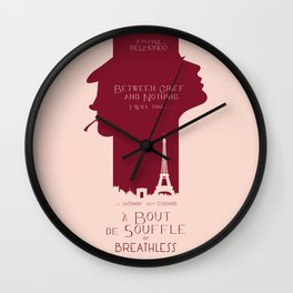 Breathless (À bout de souffle) minimal movie poster, Jean-Luc Godard, classic french film, new wave Wall Clock