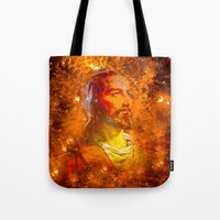 jesus Tote Bags featuring Jesus by Saundra Myles