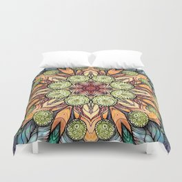 abstract red star hand drawn and kaleidoscope mandala Duvet Cover