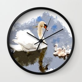 Swan and Cygnets on the Pond Wall Clock