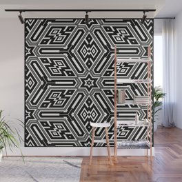 grid black white 3 Wall Mural