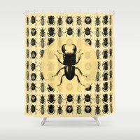 bugs Shower Curtains featuring Bugs Pattern by DIVIDUS