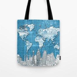 world map city skyline 10 Tote Bag