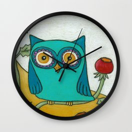 Turquoise Owl and Poppies Wall Clock