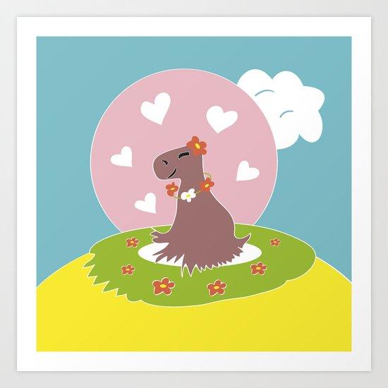 Capybara in Love Art Print