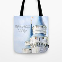 dave matthews Tote Bags featuring Matthews Room by Tiffany Dawn Smith