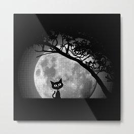 Moon Kat Metal Print