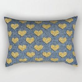 Gold Heart Blue Jean Denim Effect Pattern Rectangular Pillow