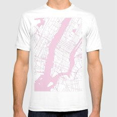 New York City White on Pink MEDIUM White Mens Fitted Tee