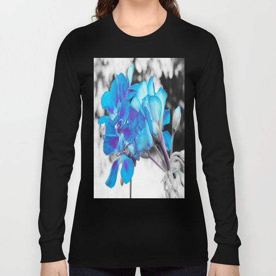 Turquoise Flowers Long Sleeve T-shirt