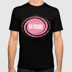 Be Happy with Baker-Miller Pink Color Black SMALL Mens Fitted Tee