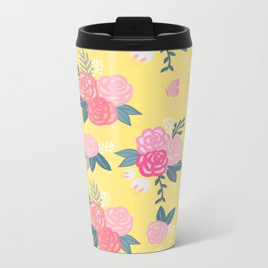 Sweet Roses on Yellow Metal Travel Mug