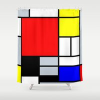 mondrian Shower Curtains featuring Mondrian by Dizzy Moments