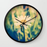 rileigh smirl Wall Clocks featuring Daisy by Rileigh Smirl