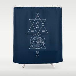 Espiral Triangle Blue Shower Curtain