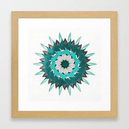 Aqua Leaf Mandala Framed Art Print