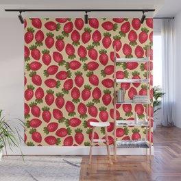 Strawberry Print - Yellow BG Wall Mural