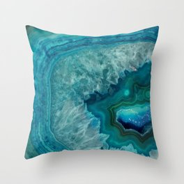 Turquoise teal decorative stone Throw Pillow