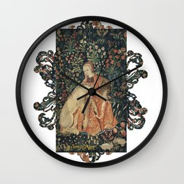 Medieval Art - Lady Queen and Loving Unicorn Wall Clock