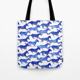 Running Watercolor Horses Pattern - Blue Tote Bag