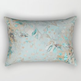 Pastel Botanical Watercolor Pattern Teal Gold Glitter Rectangular Pillow