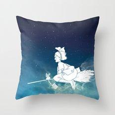 Kiki's Delivery Service Illustration Throw Pillow