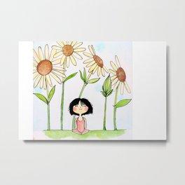 Among the Flowers Metal Print