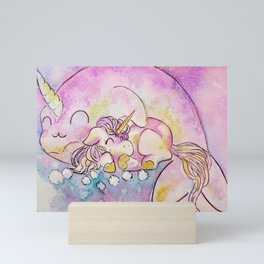 Narwhal Cuddles Mini Art Print