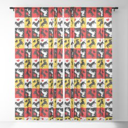 Dachshunds and Hearts Lucky Dog Sheer Curtain