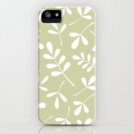 Assorted Leaf Silhouettes White on Lime iPhone Case