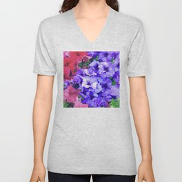 Purple-Lilac, Red & Pink Petunia Flowers Unisex V-Neck