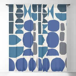 Contemporary Abstract Shapes in Blue and Grey Blackout Curtain