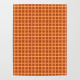 Dark Orange Grid Pattern Poster