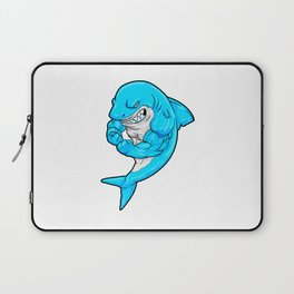 Shark as Bodybuilder with big Muscles Laptop Sleeve