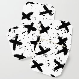 X Paint Spatter Black and White Coaster
