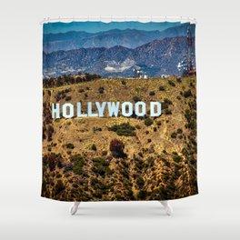 Hollywood Sign, Los Angeles, California, mountains, Griffith Park , USA, Cities, Skyline Shower Curtain