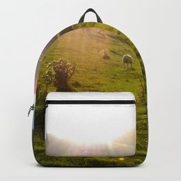 cable bay blue lagune green grass sheep Backpack