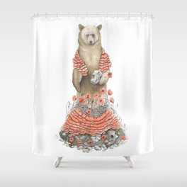 The Bear and the Poppies Shower Curtain