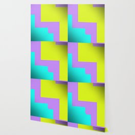 Purple yellow and blue abstract art Wallpaper