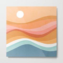 Rainbow Waves Seascape Metal Print