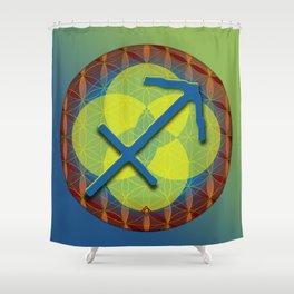 SAGITTARIUS Flower of Life Astrology Design Shower Curtain