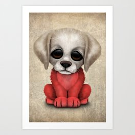 Cute Puppy Dog with flag of Poland Art Print