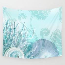 SEASHELL DREAMS | blue Wall Tapestry